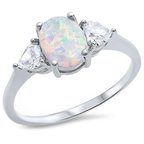 Sterling Silver Oval Lab Created White Opal & Cubic Zirconia Heart Ring Sizes ()