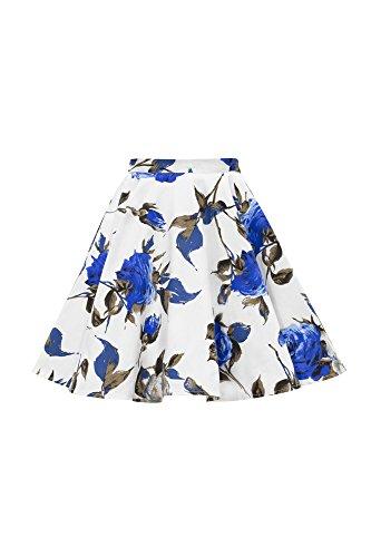 Vintage 50's Full Circle Girls Swing Skirt (Mercy - White Blue, 3-4 YRS) ()