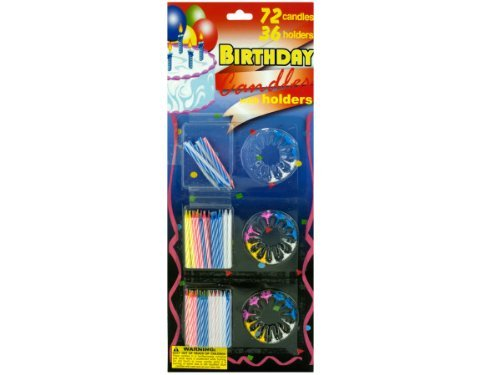Birthday candle set with holders - Pack of 72 by bulk buys