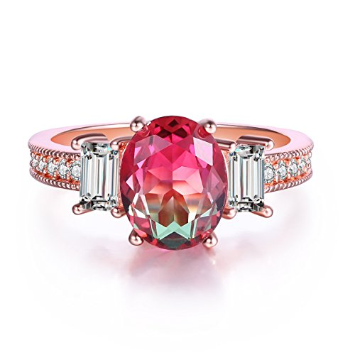 Oval-Shape Watermelon Red Green Gradient Crystal Solitaire Rings for Women, White Gold Plated Size 7