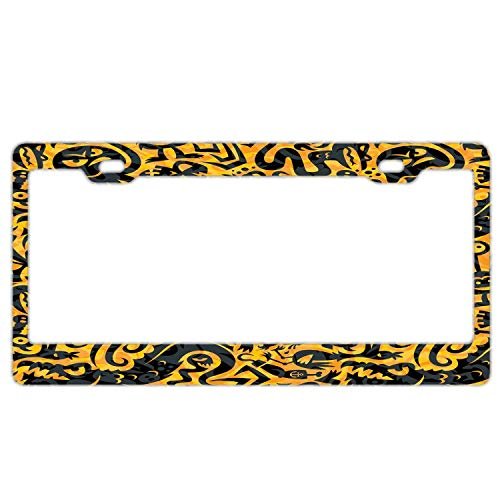 YEX Abstract Halloween Pattern License Plate Frame Car