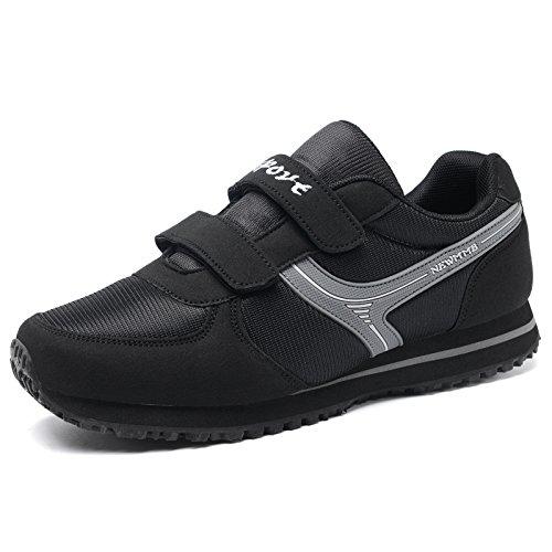 Hasag Zapatos de Mediana Edad de los Deportes de Primavera y Verano Femeninos Zapatos de Malla Transpirable Ancianos Zapatos de Madre Antideslizante Suave de Fondo black