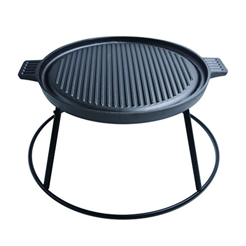 Stanbroil Universal Round Cast Iron Reversible Griddle with Detachable Legs and Base- Perfect for Fire Pit/Fire Pit Table Cooking by Stanbroil
