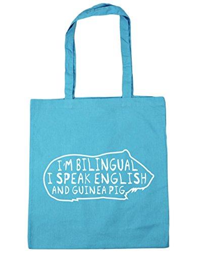 Pig Tote Bag And English Beach litres Gym Surf Shopping I x38cm I'm Speak 10 Bilingual 42cm Guinea Blue HippoWarehouse wIXx078qw