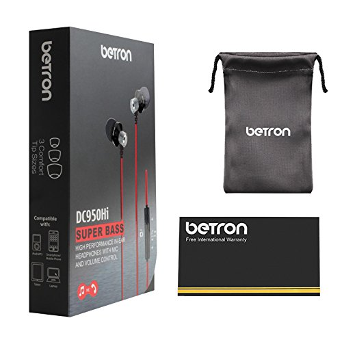 Betron DC950HI Earbuds, Noise Isolating in Ear Headphones with Mic and Remote Control, Powerful Bass, Replaceable Ear Buds, Compatible with iPhone, iPad, Samsung and Tablets, Black