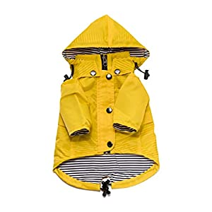 Yellow Zip Up Dog Raincoat with Reflective Buttons, Pockets, Rain/Water Resistant, Adjustable Drawstring, Removable Hood – Size XS to XXL Available – Stylish Premium Dog Raincoats by Ellie (M)