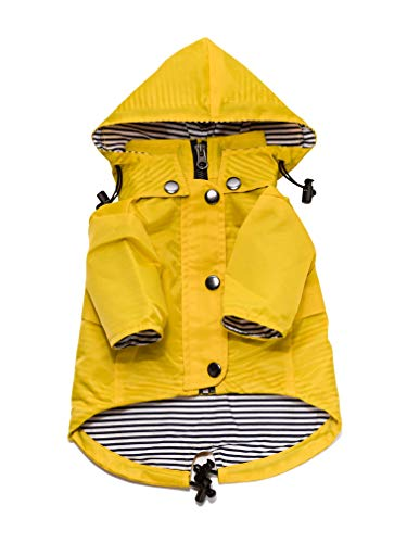 - Yellow Zip Up Dog Raincoat with Reflective Buttons, Pockets, Rain/Water Resistant, Adjustable Drawstring, Removable Hood - Size XS to XXL Available - Stylish Premium Dog Raincoats by Ellie (XL)