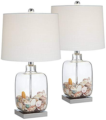 (Coastal Accent Table Lamps Set of 2 Clear Glass Fillable Sea Shells White Drum Shade for Living Room Family Bedroom - 360 Lighting)