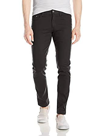 WT02 Mens 9091-3311 Basic Color Twill Stretch Span Pants Solid Casual Pants - Black - 29W x 30L