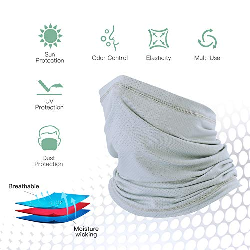 QINGLONGLIN Summer Sun Protection Cooling Face Mask Bandana Breathable Dust Neck Gaiter/Face Cover/Face Scarf for Men Women Fishing Cycling Hiking - Moisture Wicking Headband