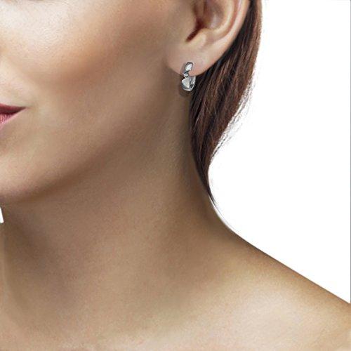 Goldmaid–Boucles d'oreille créoles pour femme–Argent rhodié 925Diamant 0,08ct