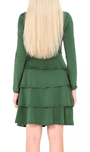 Sleeve Women Cocktail Clubwear Scoop Dress Coolred Neck Ruffled Long Skinny Green Army tSqqxdgw