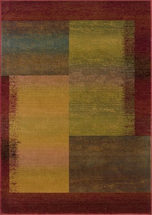 - Oriental Weavers Geometric Pattern Runner Rug in Green and Red (7 ft. 6 in. L x 2 ft. 3 in. W)
