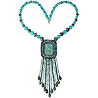 Mothers Day Gifts-Jewelry Bohemia Necklace Handmade Beads Tassel Symmetry Turquoise Flowers Pendant(F1)