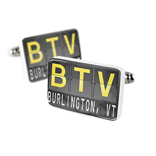 Cufflinks BTV Airport Code for Burlington, VT Porcelain Ceramic NEONBLOND