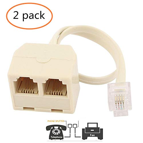LinaLife 2pc RJ11 6P4C Male to Female 2 Way Outlet Telephone Jack Line Adapter Striking rj11 male to female two way telephone splitter converter cable