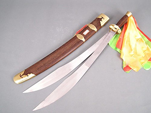 Chinese sword,Wushu double sword(Spring steel blade,Rosewood scabbard,Brass fitted)Length 38""