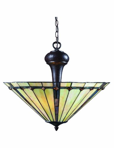 Z-Lite Z22-42P Moa Three Light Pendant, Metal Frame, Chestnut Bronze Finish and Multi Color Tiffany Shade of Glass -