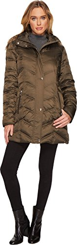 Kenneth Cole New York Women's Chevron Quilted Coat with Fur Hood Clover Medium