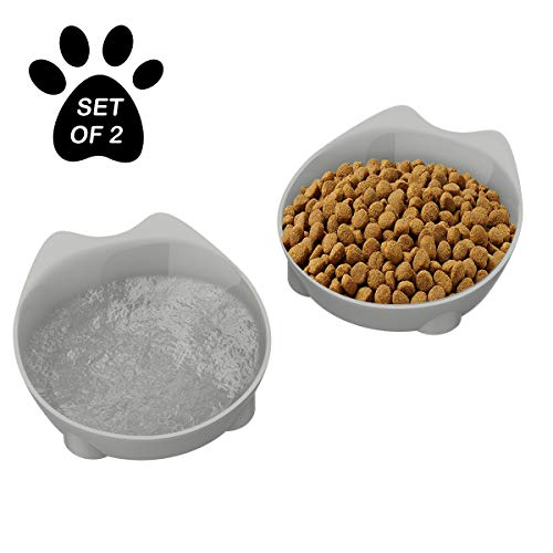 PETMAKER Cat Dishes - Set of 2 Cat-Shaped Shallow Melamine Resin Saucers for Food & Water with Nonslip Bottoms for Whisker Relief - 8 fl. oz ()