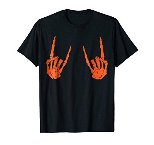 Cool Halloween Skeleton Rocker Graphic Costume T-Shirt