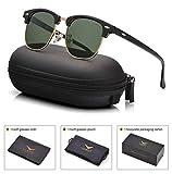 Mens Womens Clubmaster Polarized Sunglasses UV 400 Grey Green Lens Glossy Black Frame