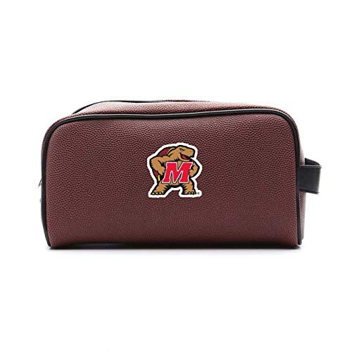 Zumer Sport Maryland Terrapins Football Leather Travel Toiletry Kit Zippered Pouch Bag - made from the same exact materials as a football - Brown - Maryland Terrapins Leather