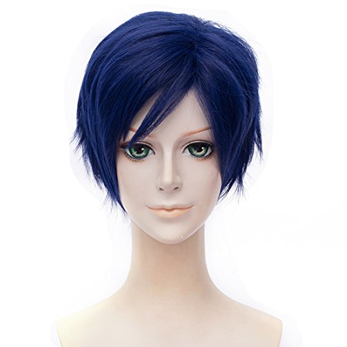 Alacos Anime Cosplay Wig Synthetic Halloween Party Costume Full Hair for Iida Tenya+ Wig Cap (Royal Blue)]()