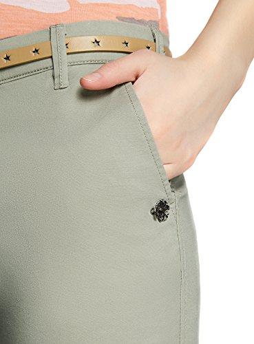 Chino Verde Donna 6000n Pantaloni Oodji Cintura Ultra Con qwHtwx4Y