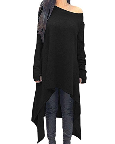 ZANZEA Women's Sexy Casual Spring Loose Long Sleeve Asymmetric Knit Jumper Dress Plus Size