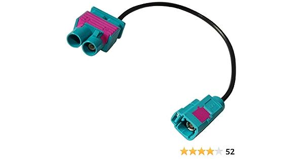 AERZETIX: Conector Cable 20cm Adaptador Enchufe Antena FAKRA Hembra Verde a Doble FAKRA Macho para Coche, vehiculos C11976