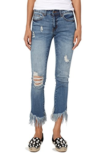 TheMogan Women's Distressed Fringe Hem Stretch Cropped Bootcut Jeans Medium 13