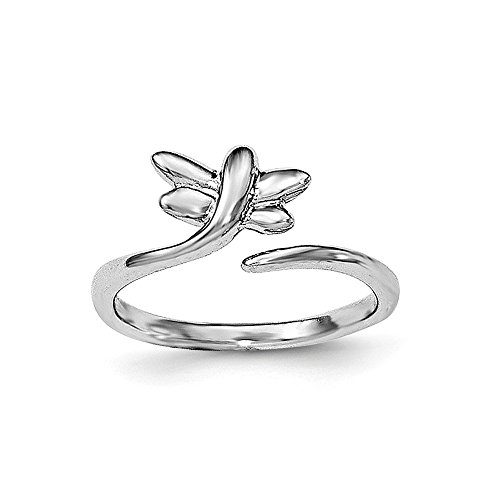 Dragonfly Silver Plated (Solid .925 Sterling Silver Rhodium-plated Dragonfly Toe Ring Size)