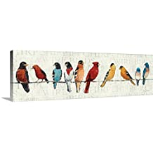 """Avery Tillmon Premium Thick-Wrap Canvas Wall Art Print entitled The Usual Suspects - Birds on a Wire 36""""x12"""""""