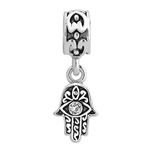 SexyMandala Hamsa Hand Blue Evil Eye Spacer Charms 12 Colors Cystal Dangle Beads Fit Pandora Bracelets