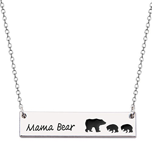 MAOFAED Bar Necklace Mama Bear Pendant Necklace Mother`s Day Gift Valentine's Day Gift For Wife Gift Jewelry (Mama bear necklace with 2 cubs)