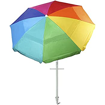Rainbow Beach Umbrella Ammsun 8 Panels 7 Ft Sand Anchor Intended Perfect Ideas