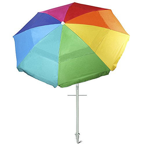 AMMSUN New 8 Panels 7 Ft Sand Anchor Beach Umbrella with Tilt UV Protection Beach Umbrella Silver Coating Inside UPF50+ Rainbow