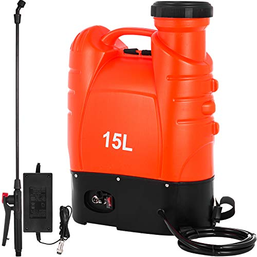 - Happybuy Battery Powered Backpack Sprayer 4 Gallon Battery Operated Sprayer 12 Volt Electric with Four Nozzles for Garden Lawn Agriculture Spray