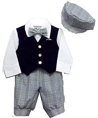 Boys Dress Knickers 5-pc Outfit with Velvet Vest | Newsboy Cap (Boys 4)
