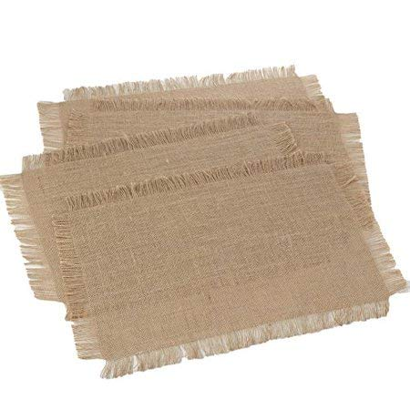 "Firefly Craft Rustic Farmhouse Fringe Burlap Placemats 14"" by 19"", Set of 4"