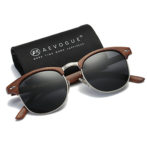 AEVOGUE Polarized Sunglasses Semi-Rimless Frame Brand Designer Classic AE0369 (Brown Woodgrain&Black, - Rimless Frames