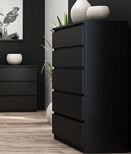 Cassettiera da camera da letto, alta, nera e con 5 cassetti, 112 cm ...