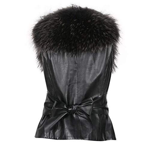 femme en col pour marron daim Veste avec en fausse manches Zhrui fourrure Xx sans chemisier noir sans taille couleur manches large wIz8WqWX