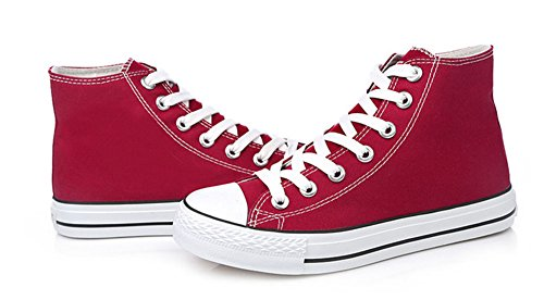 Sfnld Mens Womens Spring Fall Classic High Top Canvas Shoes Sneaker Wine Red ehZDr