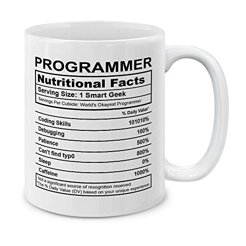 MUGBREW Programmer Nutritional Facts Funny Gifts for Programmer Coffee Mug Tea Cup 11 Oz