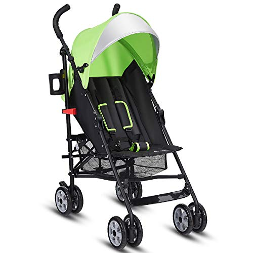 HONEY JOY Lightweight Stroller, Foldable Compact Baby Stroller with Multi-Position Reclining Seat, Adjustable Canopy, 5-Point Harness, Cup Holder, Storage Basket, Infant Umbrella Stroller for Travel