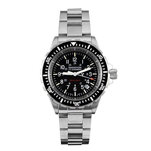 Marathon Watch WW194007BRACE-US Tsar Swiss Made Military Issue Milspec Diver's Quartz Watch with Tritium Illumination (41mm, Stainless Steel Bracelet, US Government)