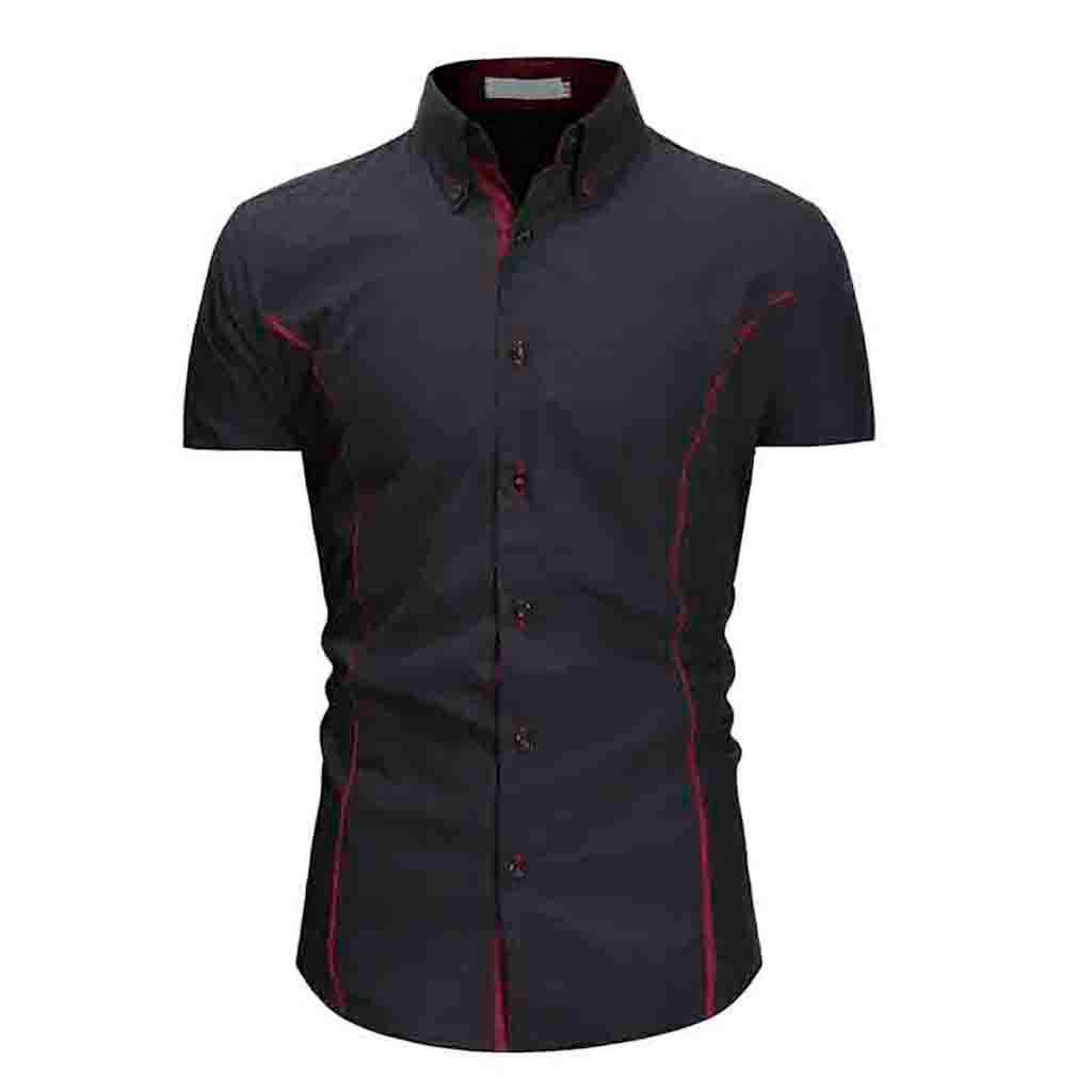 Trule Mens Solid Casual Slim T-Shirt Buttons Design Short Sleeve Comfortable Tops Blouse