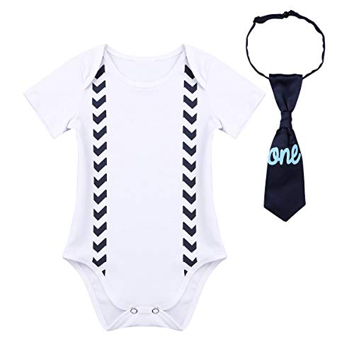 (FEESHOW Baby Boys 1st Birthday Outfit Short Sleeve Bodysuit One Piece Gentleman Romper Suspender Straps with Bow-tie (12 Months, Navy One))